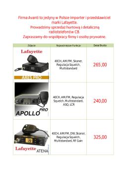 Firma Avanti to jedyny w Polsce importer i przedstawiciel marki