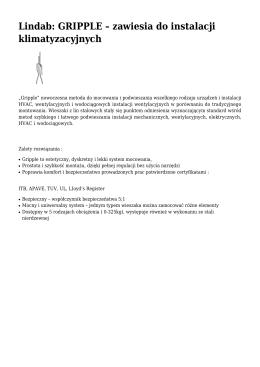 Lindab: GRIPPLE – zawiesia do instalacji