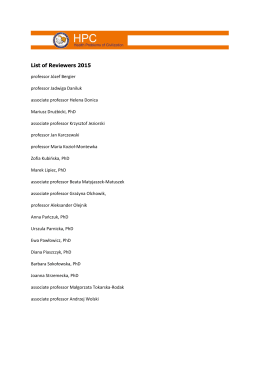 List of Reviewers 2015