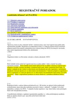 Návrh registračného poriadku.