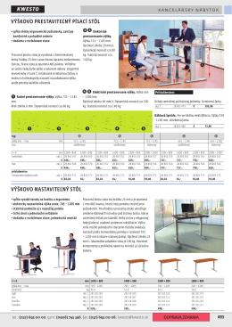 ➋➌ ➍➎ VýškoVo prestaViteľný písací stôl VýškoVo nastaViteľný stôl
