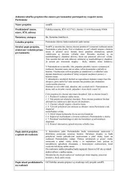 Jednotná tabuľka projektového zámeru pre komunitný