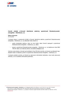 Cenník služieb a činností distribúcie elektriny platný od 1.7.2016