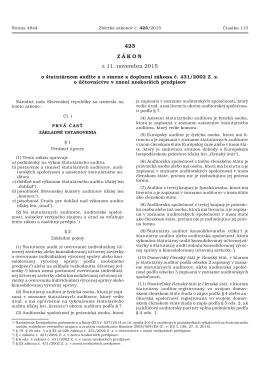 Zákon 423/2015 o štatutárnom audite a o zmene a doplnení zákona