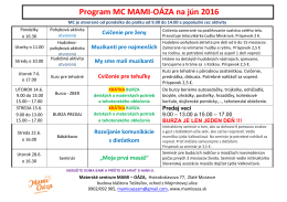 Program MC MAMI-OÁZA na jún 2016