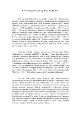 Laudatio - prof. Ing. Juraj Hraško, DrSc.