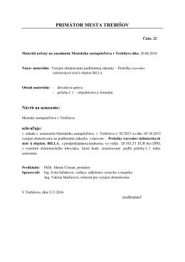 Materiál - Trebišov