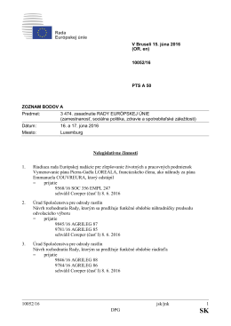 10052/16 jsk/jnk 1 DPG Nelegislatívne činnosti 1. Riadiaca rada
