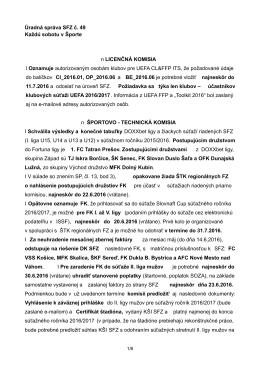 Úradná správa SFZ č. 49 zo dňa 18.6.2016 na stiahnutie