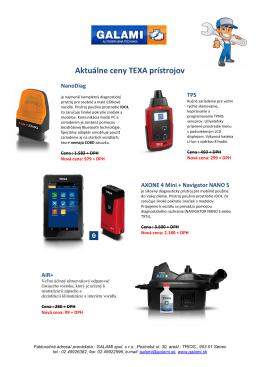 Aktuálne ceny TEXA prístrojov