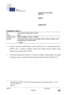 9846/16 ka/ICB/kn 1 DGB 2B 1. Komisia 4. mája 2016 predložila
