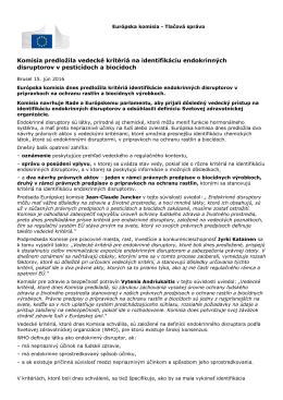 Komisia predložila vedecké kritériá na identifikáciu