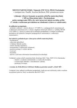 MESTO PARTIZÁNSKE, Námestie SNP 212/4, 958 01 Partizánske v