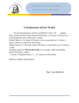 Vyhodnotenie súťaže MAKS - ZŠ Jana Amosa Komenského