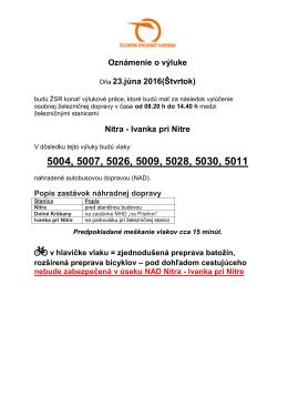 Oznámenie o výluke Dňa 23.júna 2016(Štvrtok) Nitra