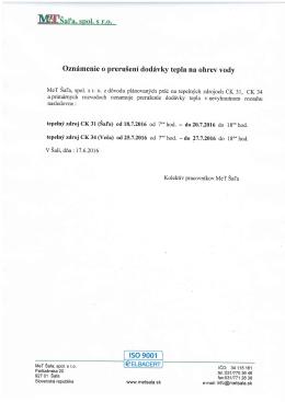Oznámenie o prerušení dodávky tepla na ohrev vody Jun 17, 2016