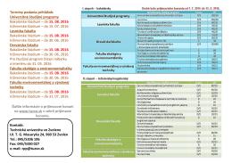 Univerzitné študijné programy Bakalárske štúdium – do 15. 08. 2016