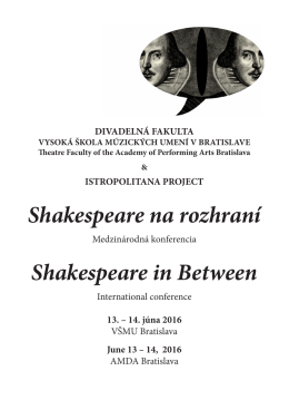 Shakespeare in Between – Bulletin