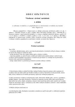 VZN č. 4/2016 o ochrane ovzdušia a o poplatkoch