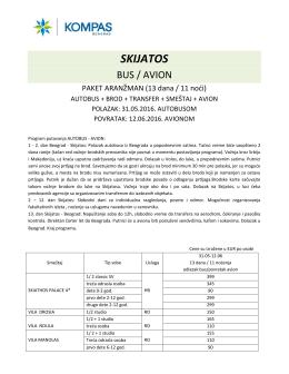 Program putovanja Skijatos bus avio 2016, Cenovnik br. 3 od 29.03