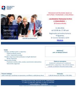 Agenda za 11.06.2016. - Regionalna privredna komora Kragujevac