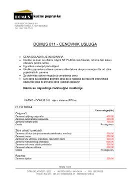 DOMUS 011 - CENOVNIK USLUGA