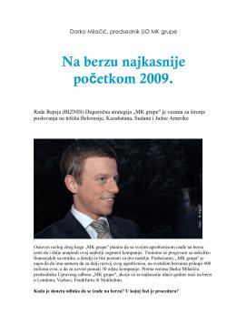Darko Milačić, predsednik UO MK grupe