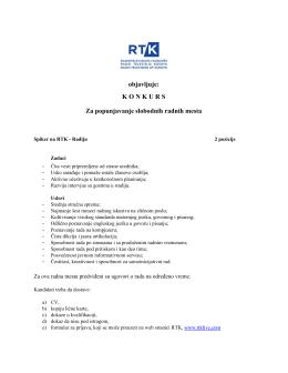 Spiker na RTK - Radiju (2 pozicije)