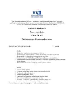 Službenik za ovlašćivanje/autorizaciju (1 pozicija)