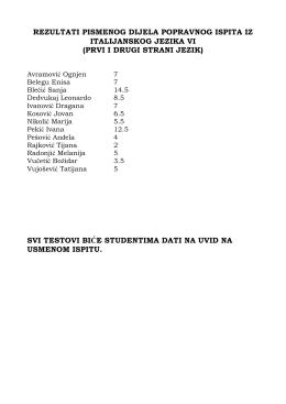 rezultati pismenog dijela popravnog ispita iz italijanskog jezika vi
