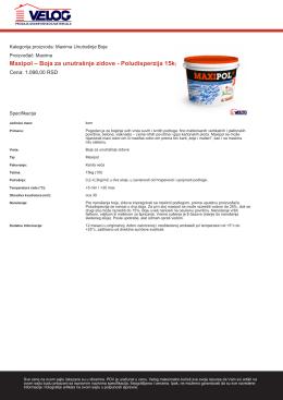 Maxipol – Boja za unutrašnje zidove - Poludisperzija 15kg