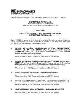 ENERGOPROJEKT OPREMA a.d. Na osnovu člana 65. Zakona o