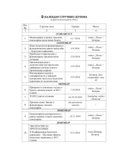 Календар стручних скупова за ЈЛС