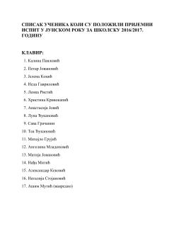 Spisak ucenika jun 2016 – Prokuplje