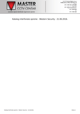 Katalog interfonske opreme - Western Security