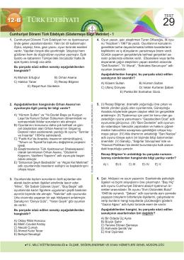 Cumhuriyet Dönemi Türk Edebiyatı (Göstermeye Bağlı Metinler)