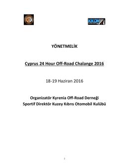 24 Saat Off Road Challenge Ek Yönetmelik için tıklayınız..