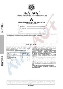 2016CS22-3 2016CS22-3 - Atatürk Üniversitesi Açıköğretim Fakültesi