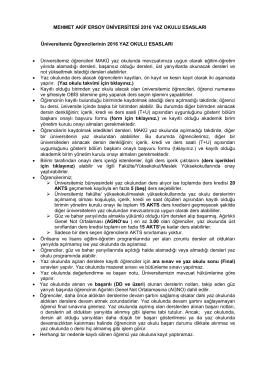 Yaz Okulu Esasları - Mehmet Akif Ersoy Üniversitesi