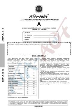 2016CS22-12 2016CS22-12 - Atatürk Üniversitesi Açıköğretim