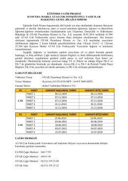 EĞİTİMDE FATİH PROJESİ KYOCERA MARKA A3/A4 ÇOK