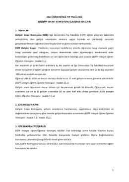 ege üniversitesi tıp fakültesi gelişim sınavı komisyonu çalışma esasları
