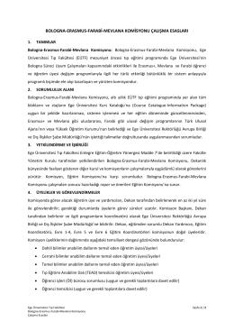bologna-erasmus-farabi-mevlana komisyonu çalışma esasları