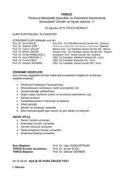 TKRCD Peritona Metastatik Apendiks ve Kolorektal Kanserlerde