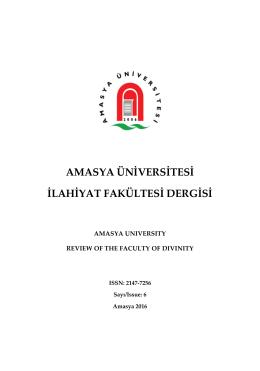 amasya üniversitesi ilahiyat fakültesi dergisi