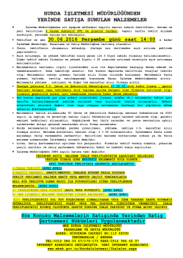 30.06.2016 Tarihli Yerinde Satış (Muhtelif PVC