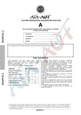 2016PS22-2 2016PS22-2 - Atatürk Üniversitesi Açıköğretim Fakültesi