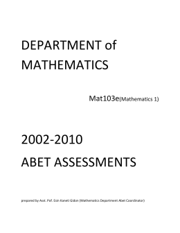 DEPARTMENT of MATHEMATICS 2002
