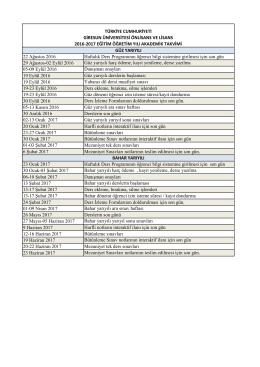 2016-2017 Akademik Takvimi