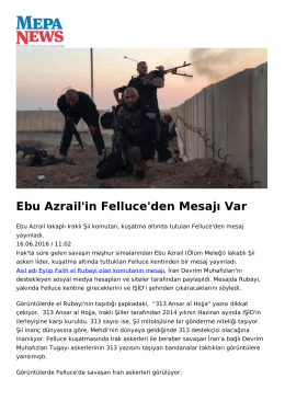 Ebu Azrail`in Felluce`den Mesajı Var